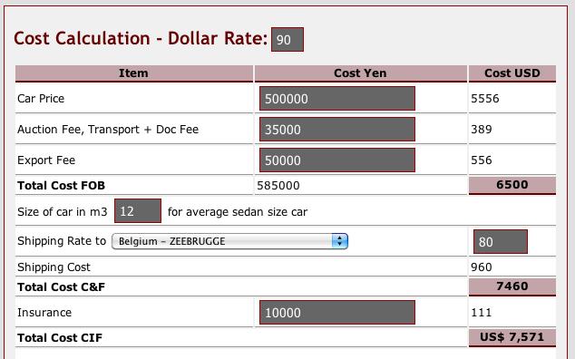 Japan Car Auction Online >> Car export cost calculator (FOB, C&F, CIF) | Car Exporter Japan : B-Spex